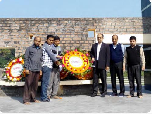 রাজবাড়ী লোকোশেড শহীদ বধ্যভূমিতে পুষ্পস্তবক অর্পন